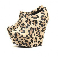 Cheetah Platform Wedge  Boots