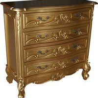 Rococo Chest of Drawers Antique Gold | Gold Rococo Chest Of Drawers | Bedroom Storage Chest