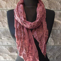 Burgundy - Cotton Scarf - Handmade - Gift - Summer - Fashion - Trend