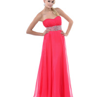 2014 Prom Dresses - Fuchsia Ruched Sequin & Gem Strapless Long Dress
