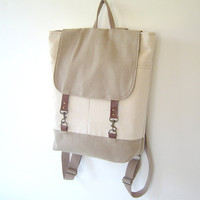 Natural Ivory and Beige  Backpack, Unique Design of BagyBag