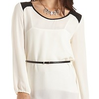 Belted Color Block Tunic Top by Charlotte Russe - Ivory Combo