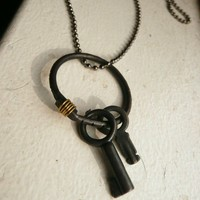 Unisex Black Key Pendant Necklace The Guardian by Flowerleaf