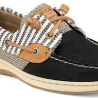 Sperry Top-Sider Bluefish Mariner Stripe 2-Eye Boat Shoe Black, Size 7.5M  Women's Shoes