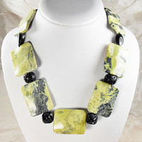 Bold Chunky African Yellow Turquoise and Black carved  Cinnabar  Necklace 20 inches