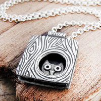 Owl necklace silver - Whimsical owl in a tree - Made to order
