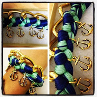 Mint Green and Navy Nautical Anchor Charm Bracelet