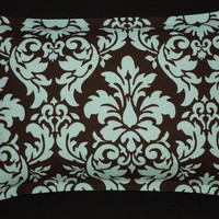 Heating Pad Microwavable Corn Filled - Blue and Brown Damask