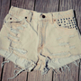 Beige Distressed High-Waisted Cut-Off Studded Shorts