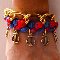 Nautical Woven Chain Bracelet with Anchor Charms.