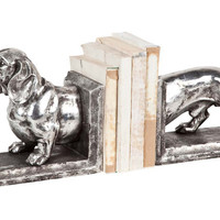 Dachshund Bookends, Silver, Bookends