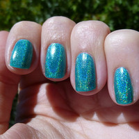 Lets Dance Turquoise Holographic Nail Polish - mini bottle