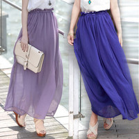 Vintage Retro Chiffon Maxi Long Floor Length Royal Blue Chiffon Long Skirt Beach Dress Bohemia Sundress Skirt