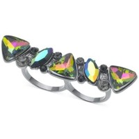 GUESS Hematite-Tone Rainbow Crystal Two-Finger Ring | macys.com