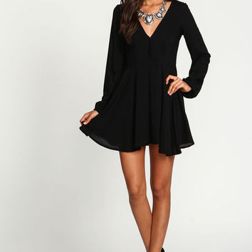 Black Pleated Woven Wrap Dress
