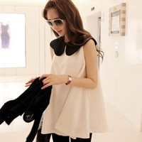 Women Cotton Beige Lapel Tank Sleeve One Size Fitting Top@A8074