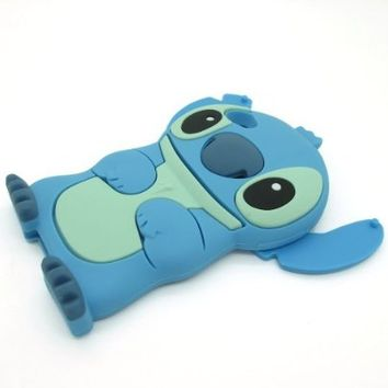 HELPYOU Blue Iphone 5 C New 3D Cartoon Stitch Movable Ear Soft Silicone Rubber Case Protective Cover for Iphone 5C