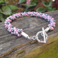 Girly Rose and Grey Beaded Bracelet