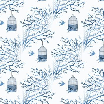 Blue Birdcage Bare Branches - 13moons_design - Spoonflower