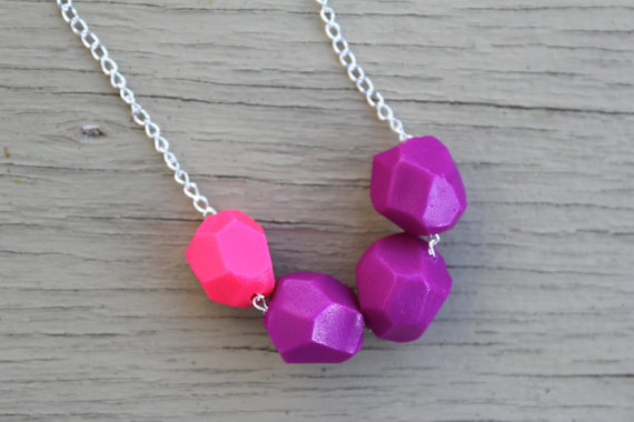 Polymer Clay Necklace : Neon Pink and Purple Geometric Polymer Clay Bead Necklace, Color Blocking, Bohemian, Silver Chain with Floral Accent
