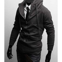 Zipper Blend Stand Collar Dark Grey Hoodie With Cap M/L/XL/XXL@X1004NH6S0W04dg