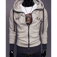 Zipper Button Light Grey Men Hoodie With Cap M/L/XL/XXL@X1004NH6S0W02lg
