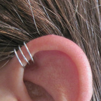 "No Piercing Handmade Helix Cuff Ear Cuff ""Triple Loops""  1 Cuff Silver Tone or 17 Color Choices"