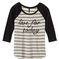 """""""live for today"""" raglan stripe graphic tee"""