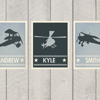 Nursery Airplane Print Set - Custom - Name Art
