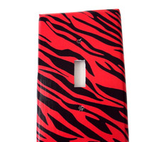 Zebra Print Switchplate Cover Reddish Pink Dark Honeysuckle