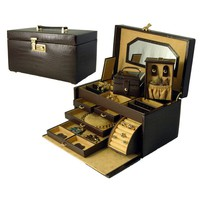 Budd Leather Croco Grain Jewelry Boxes Small Croco Calf Treasure Chest in Brown - 540666CR-2