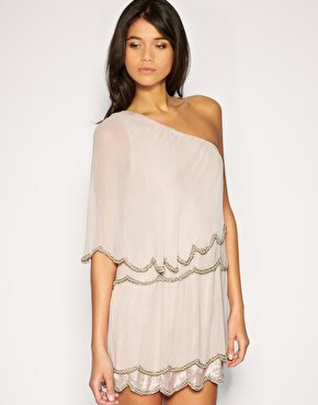 ASOS One Shoulder Dress with Scalloped Hem and Bead Embellishment at asos.com