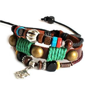 Adjustable Couple bracelets Cuff made of Leather Ropes and Color Wooden Beads unisex bracelet cuff bracelet Jewelry Bangle bracelet  807S