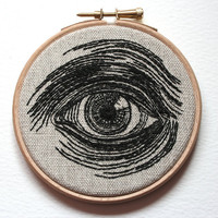 Eye Embroidered Hand Stitched Illustration Wall Plaque