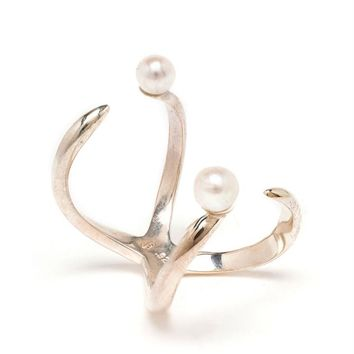 BIJULES   Solid Silver Future Ring with Pearl   Browns fashion & designer clothes & clothing