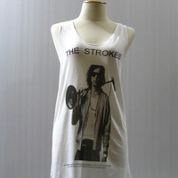 THE STROKES Julian Casablancas Punk Rock Music Shirt Women Tank Top Shirt Tunic Tank  White Shirt Vest Women Sleeveless Rock T-Shirt Size L