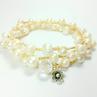 Pearl crochet necklace or wrap bracelet Silver flower dangle, Bridal,cream, ivory, luxe shabby boho chic