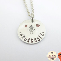 Personalized Hand Stamped Jewelry - Adorkable - Nerd Geek Geekery - Gift for her - Robot Jewelry