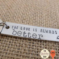Personalized Hand Stamped Key Chain -The Book is Always Better - Scholar Geek - Stamped Metal - Gift for Her - Gift for him
