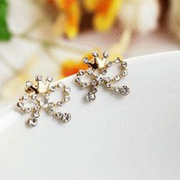 Bow and Crown Glittering Earrings | LilyFair Jewelry
