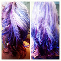 Lilac and purple ombre hair clip extensions