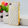 Chanel Apple iPhone 4 &amp; 4S cellular mobile phone hard case with Lamb Skin, C logo durable case cover, gift box, white ON SALE