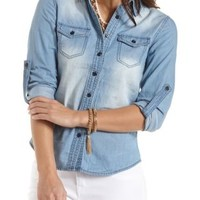 Medium Wash Chambray Button-Up Top - Med Wash Denim