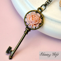 Antiqued Brass Key Necklace, with resin rose flower
