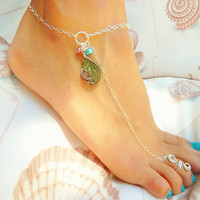 Barefoot Sandal -  Sterling Silver Abalone with Teal and Pink Pearls, Barefoot Jewelry - Available in 14k Gold Filled too