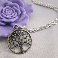 necklace---antique silver tree necklace---Z086