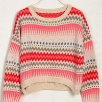 Round Neck Loose Cardigan With Colored Stripes - Oasap High Street Fashion