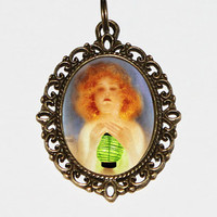 The Green Lantern, Art Nouveau, Burlesque Jewelry, Pin Up Girl, Pinup Necklace, Oval Pendant