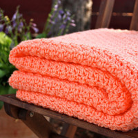 Beautiful and Luxuriously Handcrafted CROCHET Blanket Throw PEACH  w/ Free Domestic Shipping