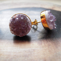 Beautiful Jasper Quartz Druzy Purple & 18K Vermeil Bezel Set Post Earrings